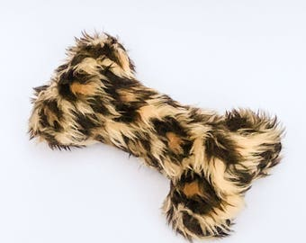 Fuzzy Leopard Squeaky Dog Bone