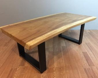 47 X 25 X 17 H Natural Live Edge Acacia Wood Slab Coffee Table Suar