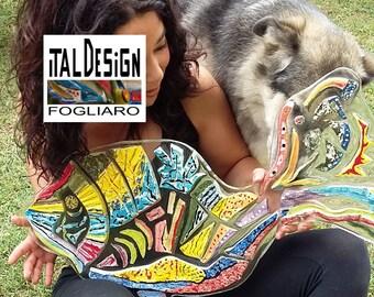 Fish ceramic, polycarbonate and resin. Modern wall SCULPTURE, signed ITALDESIGNFOGLIARO