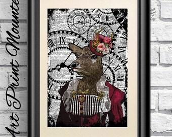 Doe Print, Steampunk Animal, Dictionary Book Page Print Animal, Hipster Animal. Mounted Poster artwork, Steam punk Goggles
