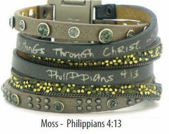 Good Works Make a Difference New Life Come Together Scripture Cuff Bracelet - Moss Gray Philippians 4:13