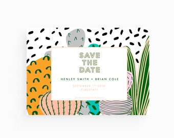 Save the Date - Cactus Illustration, Modern Art, Minimal, Customizable, Colorful, Instant Download