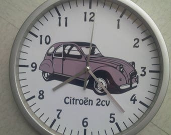 clock wall decoration car Citroën 2cv grey
