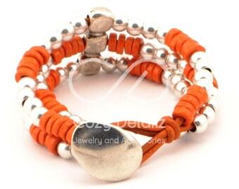 boho bracelet, orange bracelet uno de 50 style, bohemian jewelry, multi strand bracelet beaded, women beaded bracelet, women gifts
