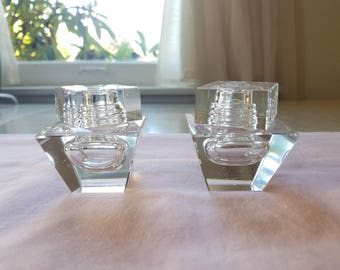 Vintage Salt and Pepper Shakers, Square/Geometric Glass