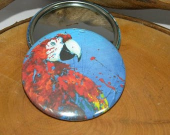 Miroir de poche PERROQUET // animal // couleurs // idée cadeau // miroir de sac // oiseau // ara // cadeau femme // fille // beauté // rouge