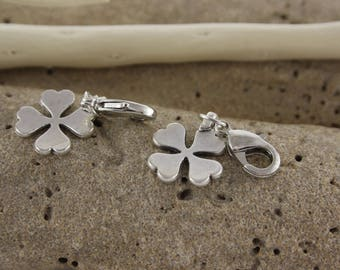 Charm 4 clover leaf silver plated