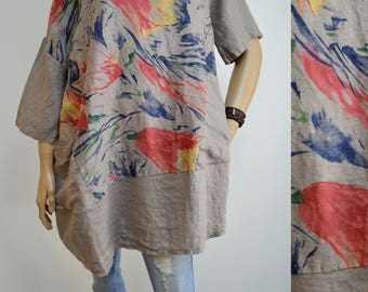 42 44 46 48 / 14 16 18 20 Italian Boutique Linen Lagenlook Tunic Dress Beautiful Print