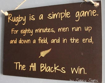 All Blacks Rugby Sign - Simple Game New Zealand Rugby Union Kiwi Football Sign With Silver Fern