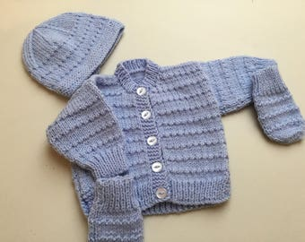 Baby boy handknitted blue jacket hat and mitts set