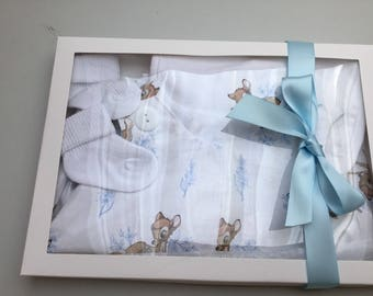 Baby boy Bubble Romper Set, Bambi, Rabbit, dribble bib, socks, baby shower, baby gift, new baby gift. 0-3 months