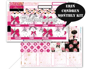 Valentine's Day Stickers MONTHLY Planner Kit, for Erin Condren Planner, Life Planner Sticker, Monthly Sticker Kit, February kit #SQ00056-EC