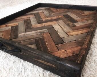 Wooden serving tray, Oversized ottoman tray, herringbone tray, coffee table tray, breakfast tray, farmhouse decor