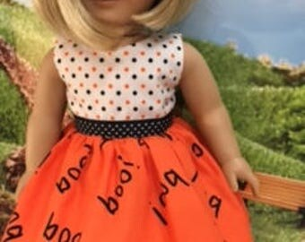 """18"""" Doll Dress to get your girl ready for Halloween.  Lined sleeveless top and very full skirt with complete open back for easy on and off."""
