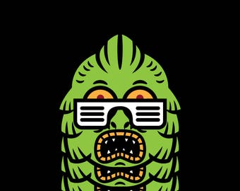 Monster With Cool Shades      3.5 Inches White Vinyl  Sticker Decal Laptop Car Bumper Sticker