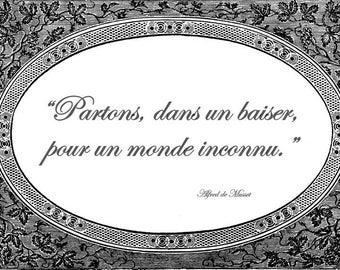 Laminated placemat baroque quote Musset