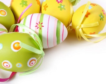 Laminated placemat yellow and green Easter eggs