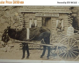 ON SALE till 6/30 Donkey Pulling Cart With Jug of Moonshine in Front of the Arkansaw Traveler Hotel Antique AZO Rppc Unused