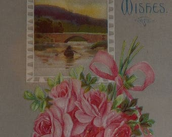 ON SALE till 6/30 Pink Roses, Lace  and Scene - Best Wishes Antique Greeting Postcard