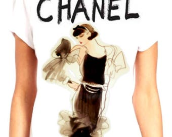 Chanel /Lagerfeld inspired hand painted shirt #5