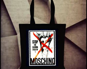 Moschino magazine ad inspired 100%  Black Cotton Reusable  shopping Tote Bags