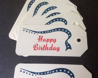 Happy Birthday Patriotic Gift Tag on Ivory Stock - Set of 10