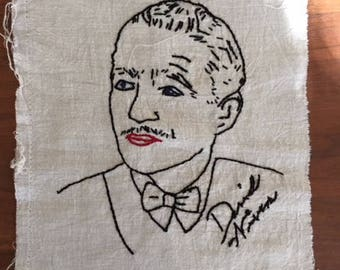 Hand-Embroidered Linen with 1940s Movie Stars #2