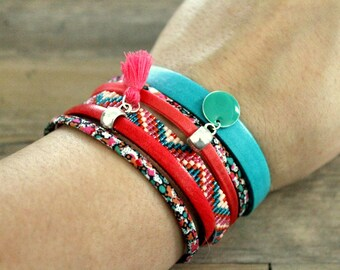 (S) Manchette woven leather and liberty coral and turquoise seed beads, sequin and liberty - snap cuff