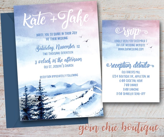 Winter landscape wedding invitation winter watercolor bridal il570xn filmwisefo