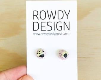 Dome Stud Earrings - Purple + Mint Green with Black Speckle