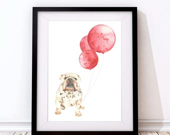 Grumpy Bulldog Print - Bulldog Art - Bulldog Gift - Bulldog lover - Dog Lover Gift - Bulldog Present - Bulldog - Dog Wall Art - Dog print