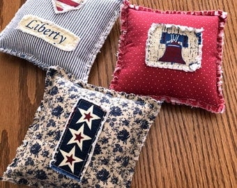 Fourth of July Shabby Americana Tucks, Americana Ornies, Independence Day Bowl Fillers, Liberty Bell Patriotic Decor - Ready to Ship