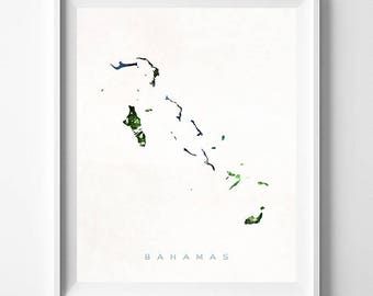 Bahamas Map Print, Bahamas Print, Bahamas Poster, Wall Hanging, Watercolor Art, Wall Decor, Map Print, Travel Souvenir, Mothers Day Gift