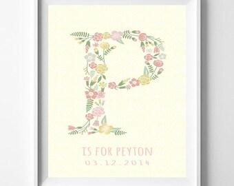 Personalized Art, Personalize Monogram, Floral Monogram, Penelope, Pamela, Patricia, Pandora, Paige, Peyton, Flower Art, Valentines Day Gift