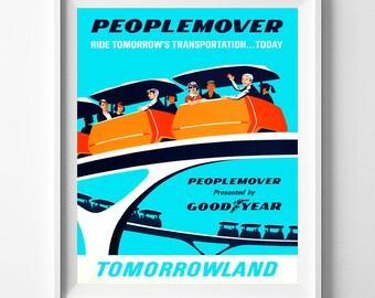 Disney World Poster, People Mover, Disneyland Vintage, Disney Wall Poster, Disneyland Print, Peoplemover, Tomorrowland, Valentines Day Gift