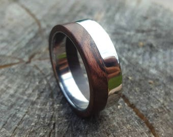 Titanium Ring with King Wood Inlay Inside and Outside, Titanium Ring Inlaid with Wood, Wood Ring, Mens Ring, Womens Ring, Mens Band