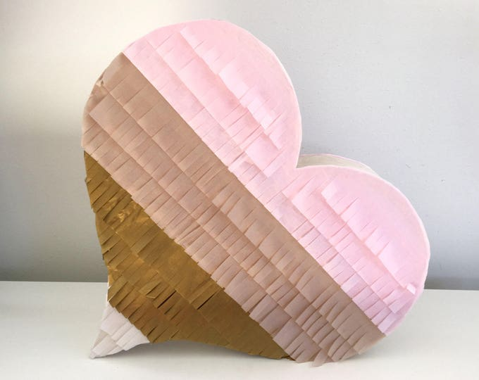READY to ship Wedding Pinata Wedding Guest Book Pinata Blush, Baby Pink, Antique Gold and Ivory Heart Piñata | Heart Shaped Piñata