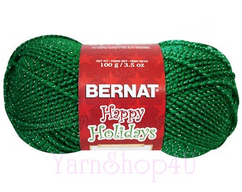 GLITTERY GREEN, Green/Silver, Bernat Happy Holidays Christmas Yarn, Green with Silver Metallic threads, 3.5 oz/100g/240 yd ball