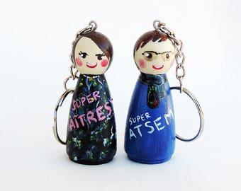 Keychain centerpiece figurine / home - Peg doll Keychain - personalized Figurine - gift centerpiece - present home (as desired)