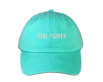 """GIRL POWER Washed Dad Hat, Embroidered """"Girl Power"""" Feminism Hat, Low Profile Girl Gang Feminist Baseball Cap Hat, Seafoam"""