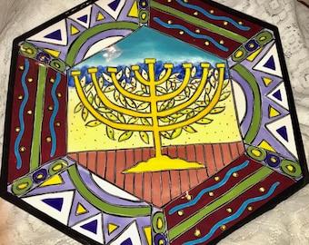 Large Hexagon Shaped Hanukkah Serving Platter With Yellow Menorah Design and Vibrant Blues, Greens and Red Tones, Menorah Platter