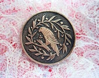 Medium antique brass bird button - hawk or parakeet? - bouton ancien oiseau