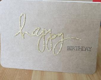 Happy Birthday on Kraft cardstock card