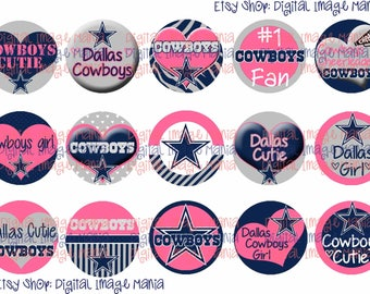 INSTANT Download Dallas Cowboys Pink Inspired 4x6 Digital Printable 1 Inch Circle Bottle Cap Images