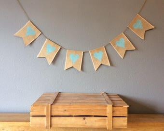 Baby Shower Hessian Bunting, Christening Nursery Banner Vintage Burlap