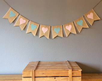 Baby Shower Hessian Bunting Twins Christening Nursery Birthday Party Banner Burlap