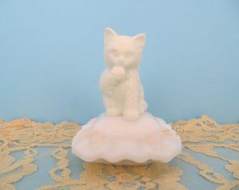 Avon bottle Sitting Pretty cat on a cushion