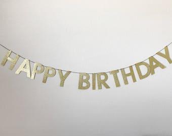 Happy Birthday banner, Happy Birthday glitter banner, Happy Birthday gold glitter banner, birthday banner, happy birthday sign,
