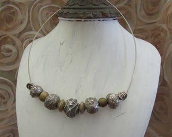Fine silver handmade beads choker