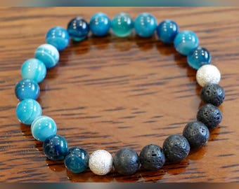 Genuine Blue Striped Agate Gemstone Bracelet with Lava Beads